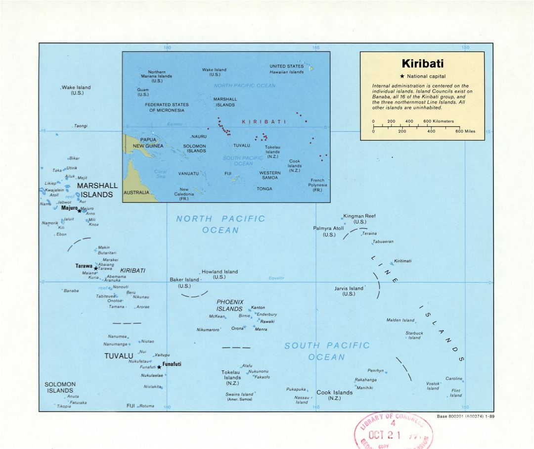Large detailed political map of Kiribati with major cities - 1989