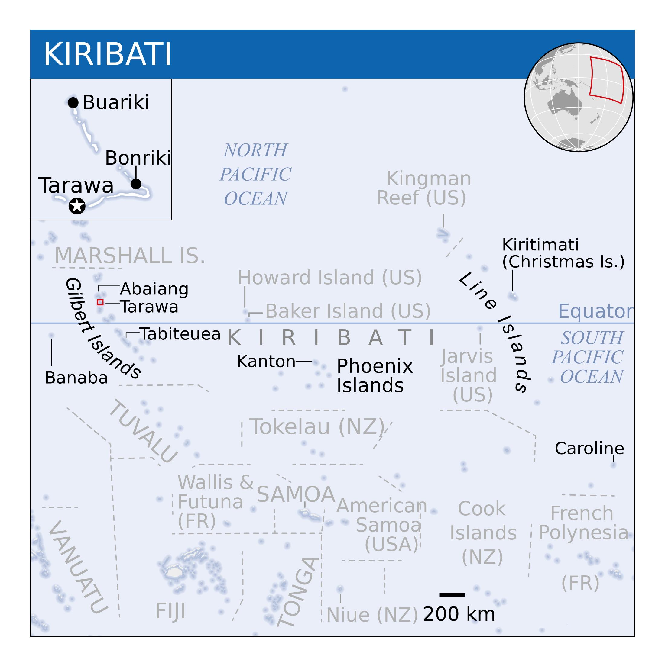 Large detailed political map of Kiribati with other marks Kiribati