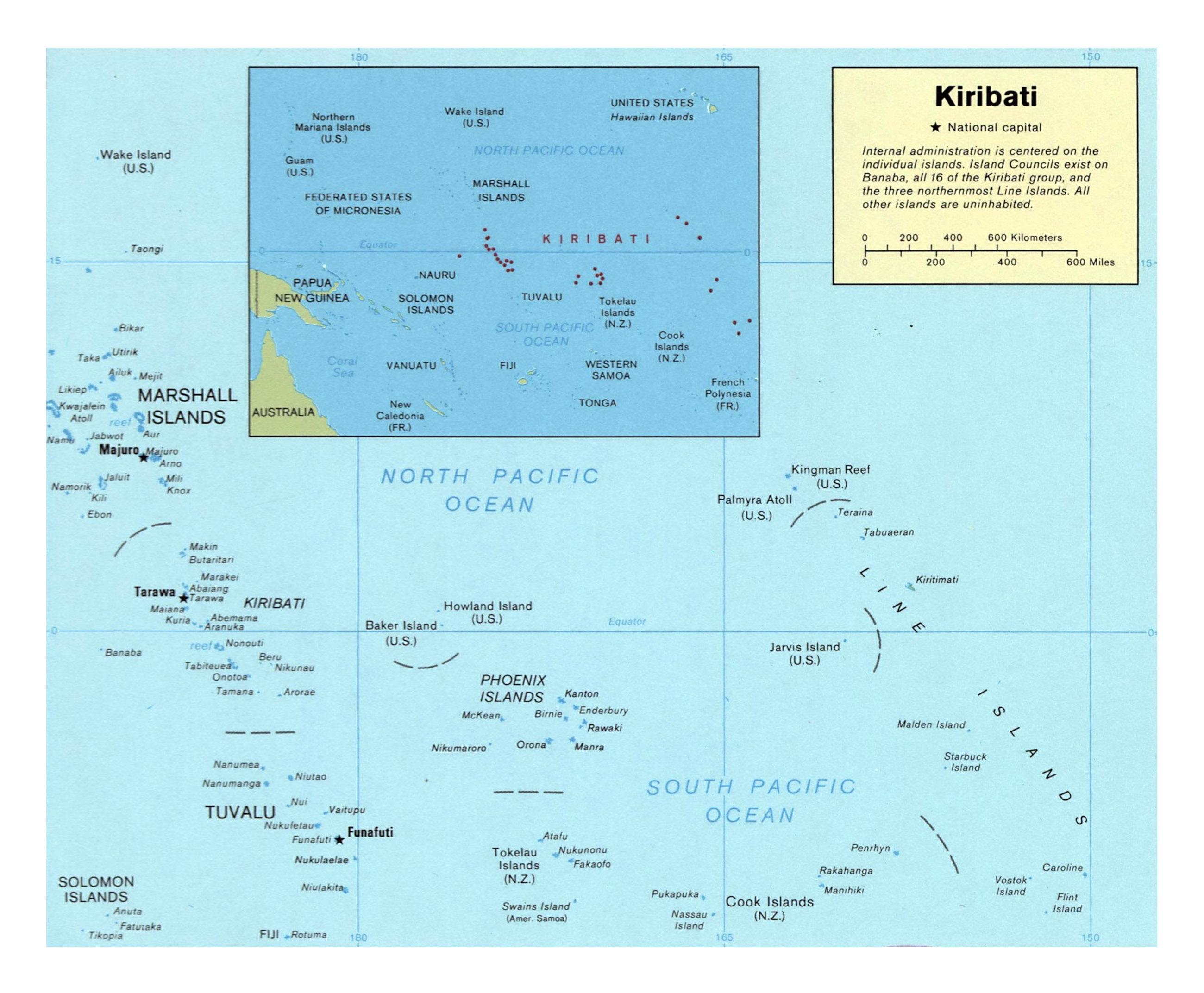 Large detailed political map of Kiribati Kiribati Oceania