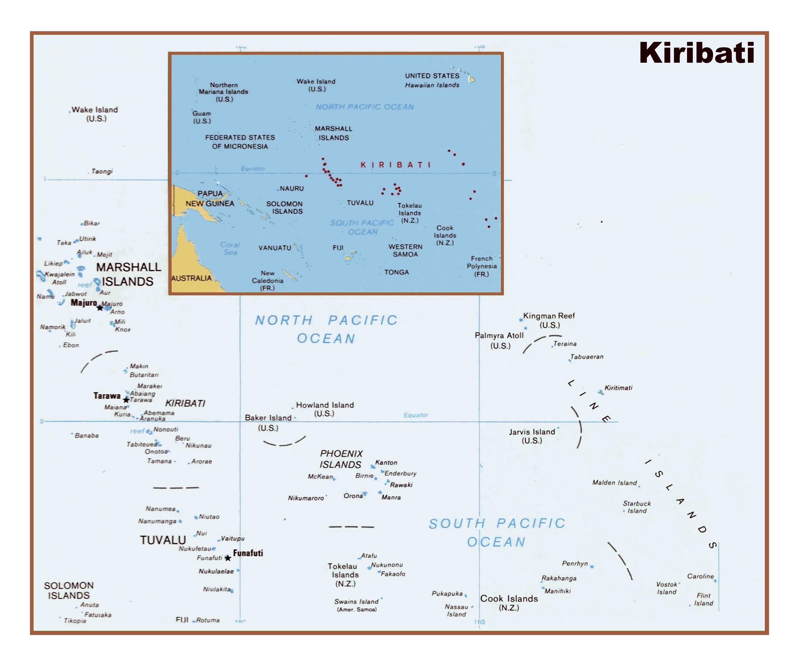 Large detailed political map of the Republic of Kiribati Kiribati