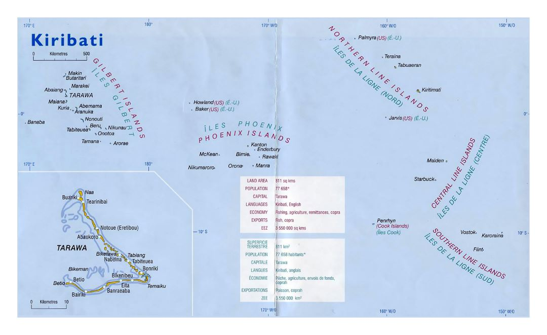 Large political map of Kiribati