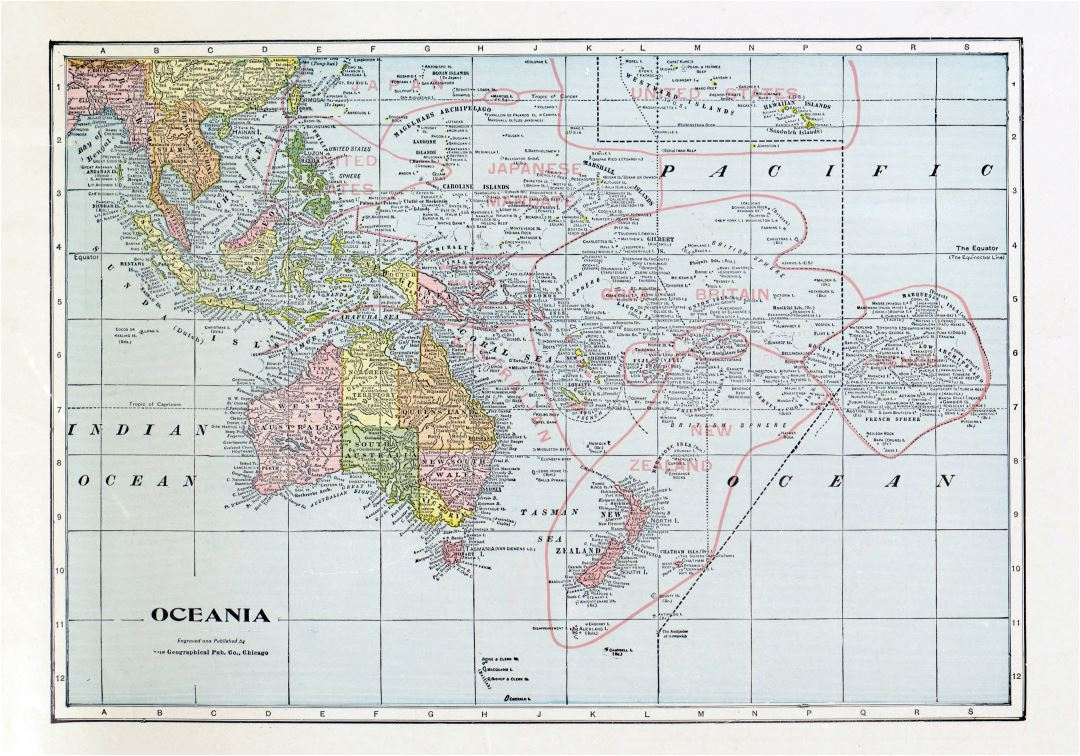 Large detailed old political map of Oceania with the marks of capitals, cities, names of countries and other marks - 1932