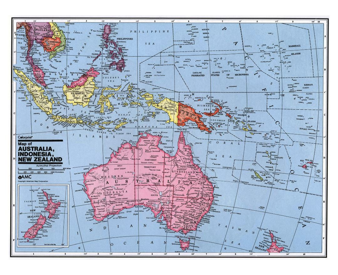 large detailed political map of australia and oceania