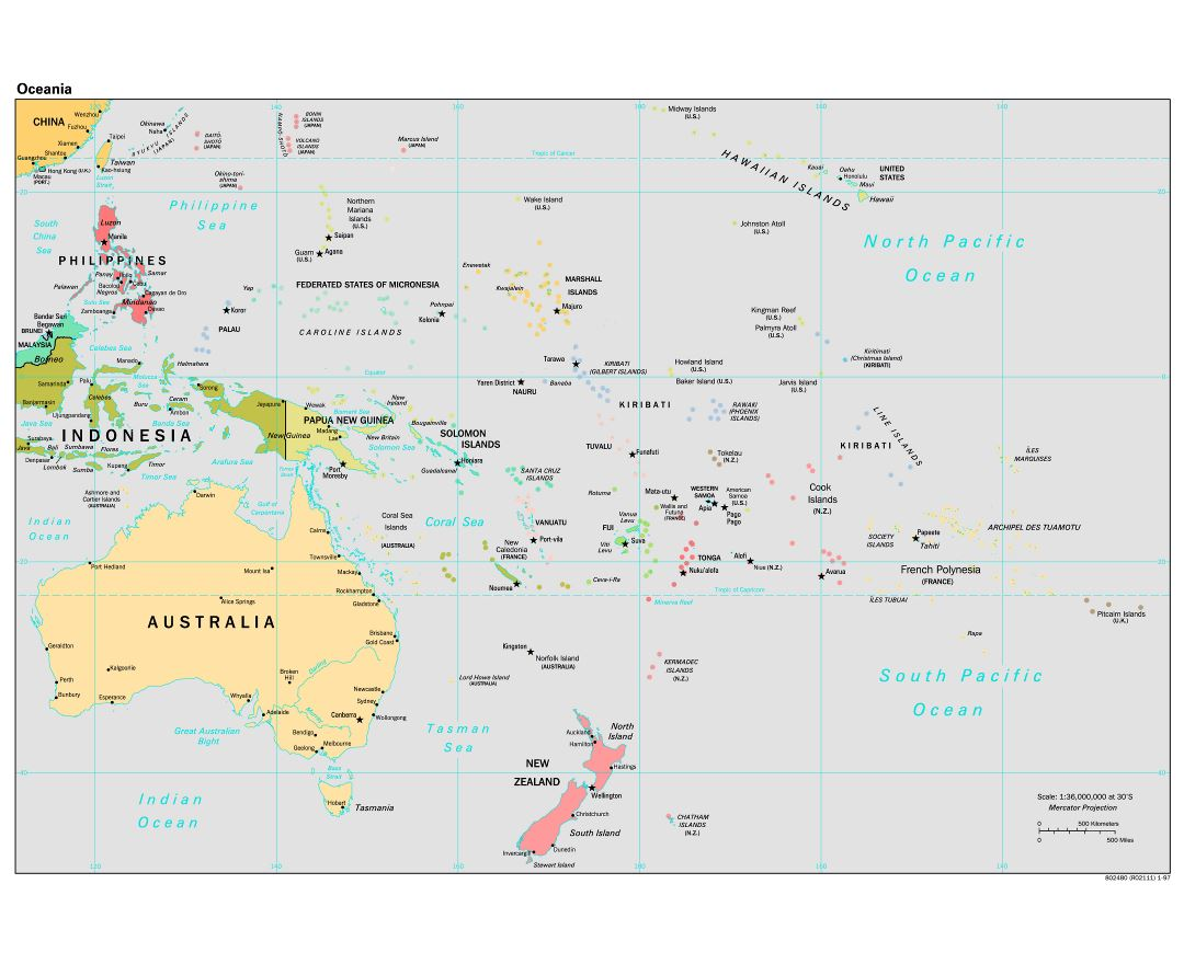 Large detailed political map of Australia and Oceania with capitals and major cities - 1997