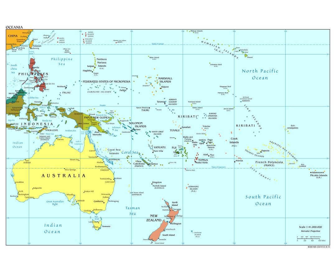Large detailed political map of Australia and Oceania with capitals and major cities - 2013