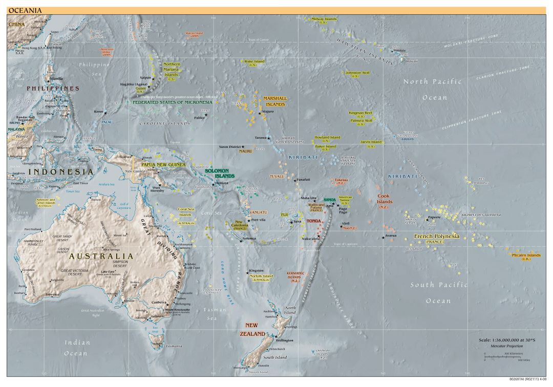 Large detailed political map of Australia and Oceania with relief - 2000