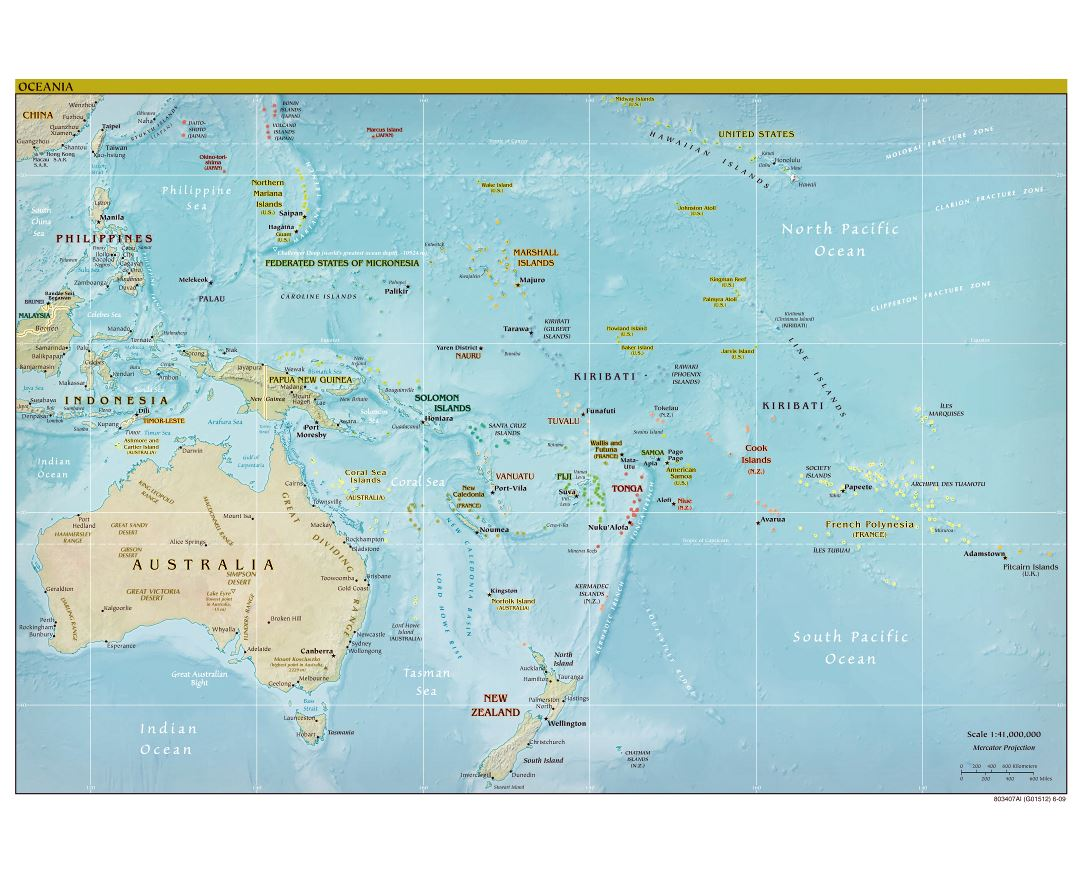 Large detailed political map of Australia and Oceania with relief - 2009