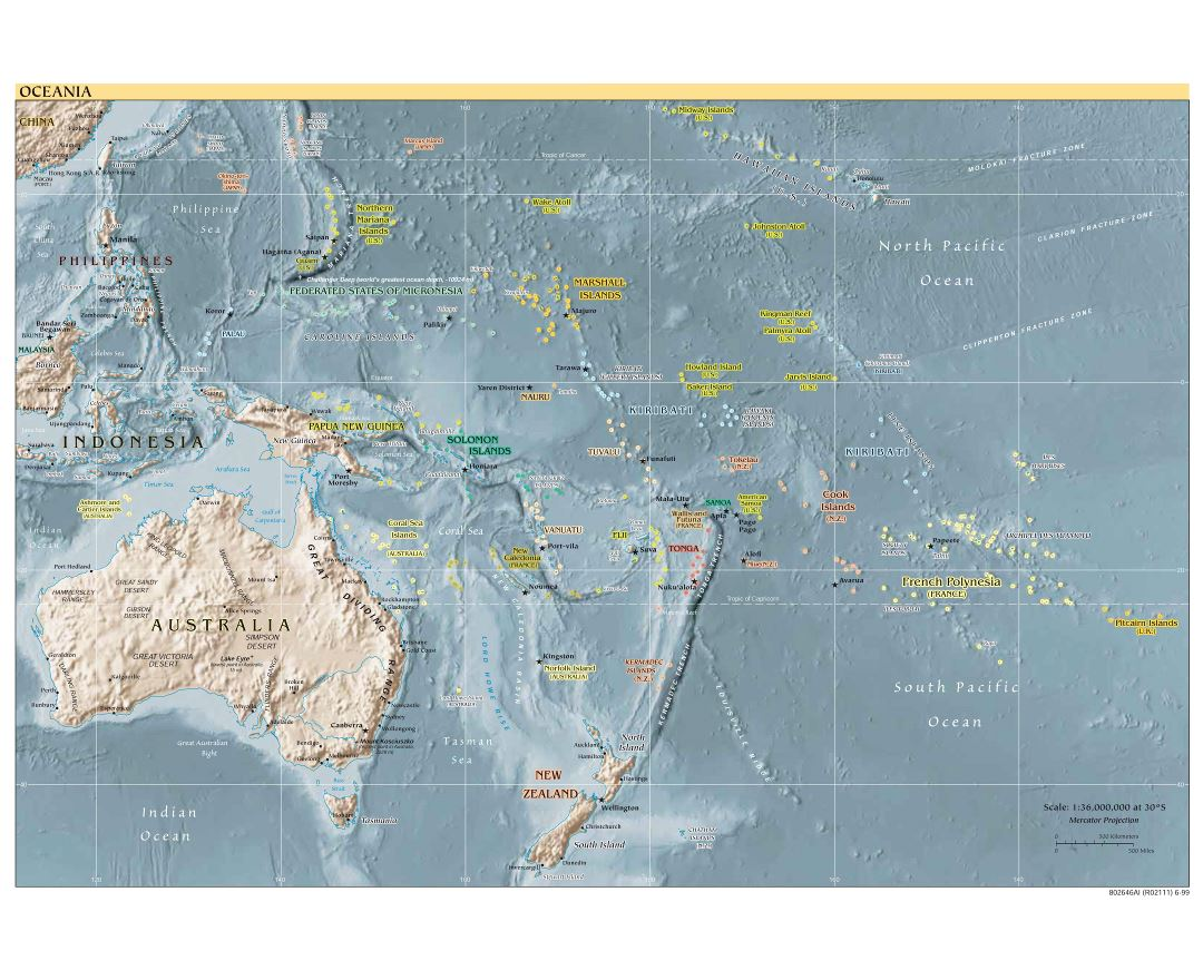large detailed political map of australia and oceania with relief capitals and major cities