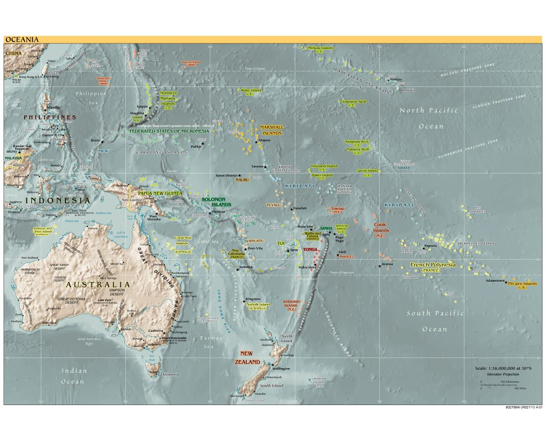 Maps of Oceania and Oceanian countries Political maps Road and