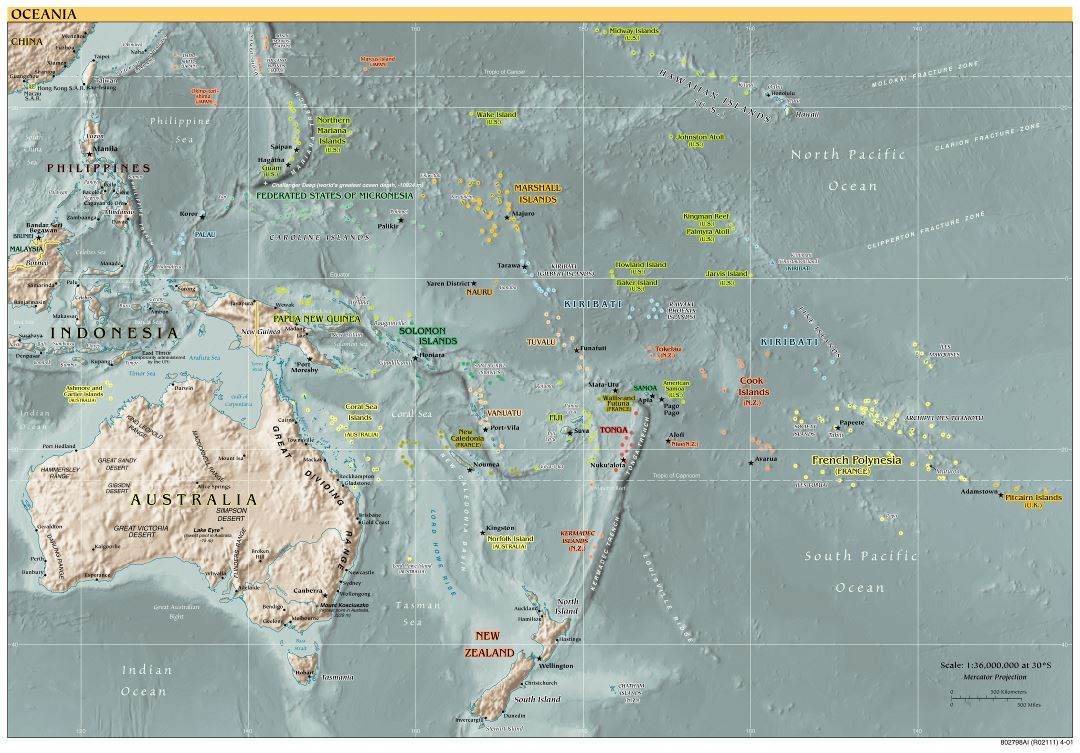 Large detailed political map of Australia and Oceania with relief, capitals and major cities - 2001