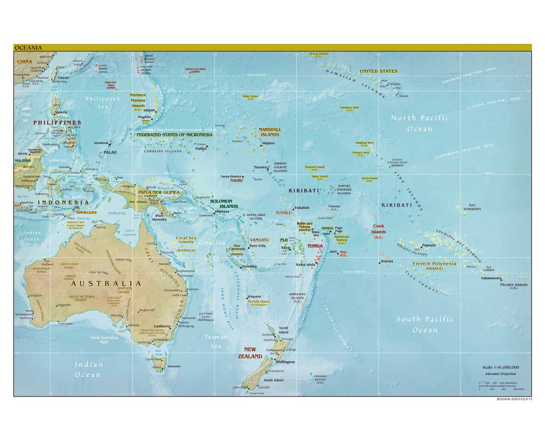 Large detailed political map of Australia and Oceania with relief, capitals and major cities - 2012