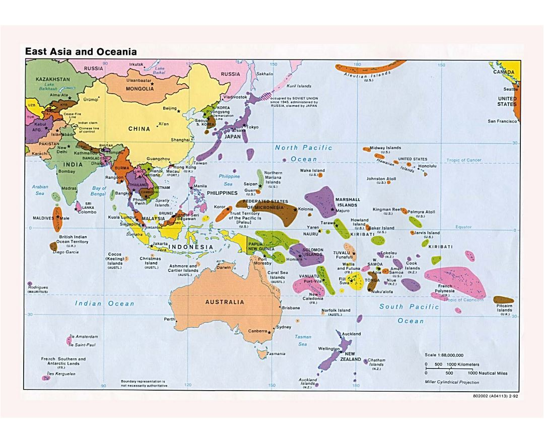 Large detailed political map of East Asia and Oceania with major cities and capitals - 1992