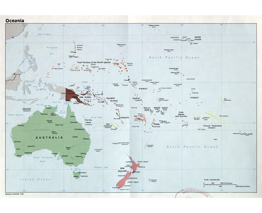 Large detailed political map of Oceania with capitals and major cities - 1985