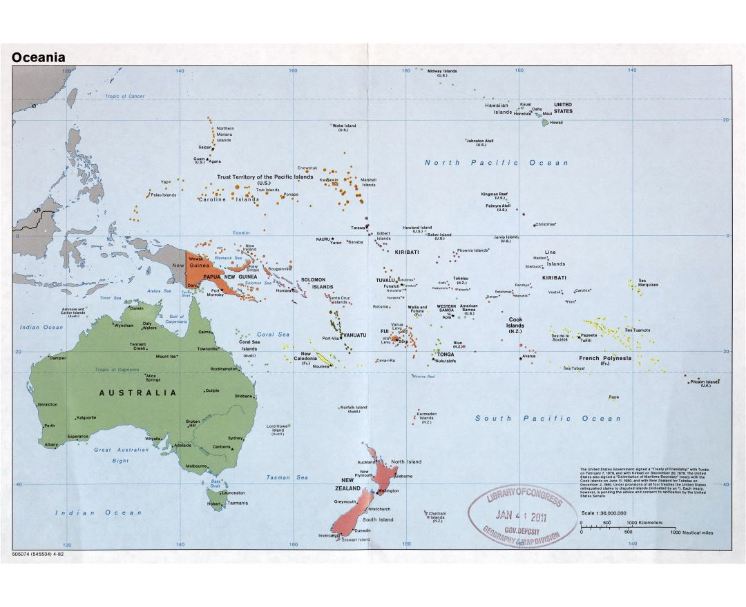 Large detailed political map of Oceania with major cities and capitals - 1982