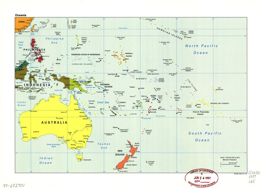 Large detailed political map of Oceania with marks of capitals, large cities and names of states - 1997
