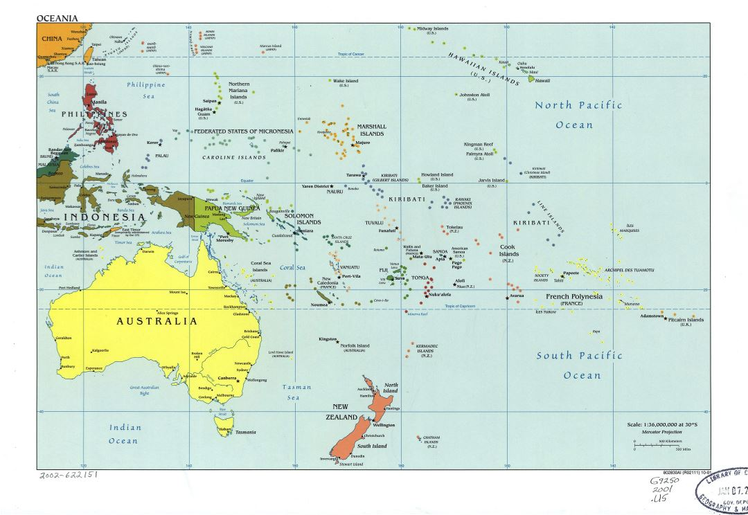 Large detailed political map of Oceania with marks of capitals, large cities and names of states - 2001