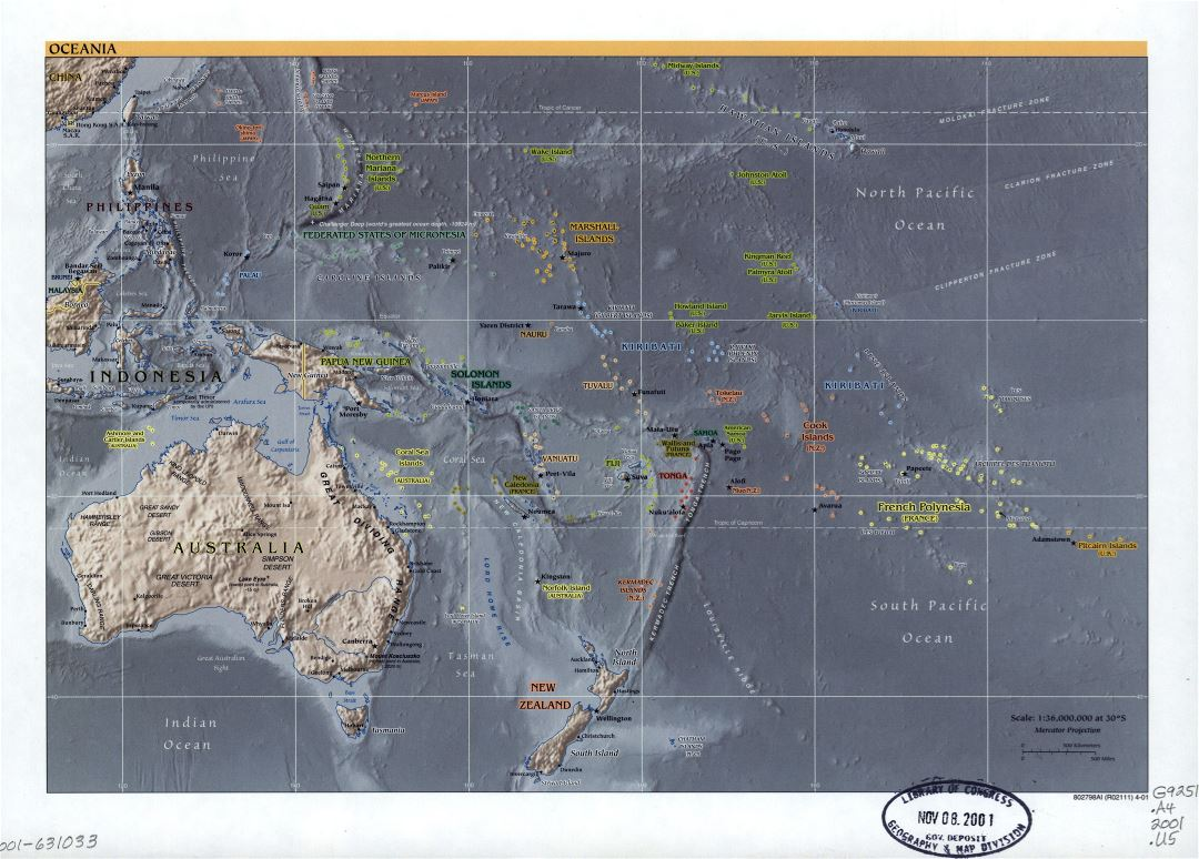 Large detailed political map of Oceania with relief, marks of capitals, large cities and names of states - 2001
