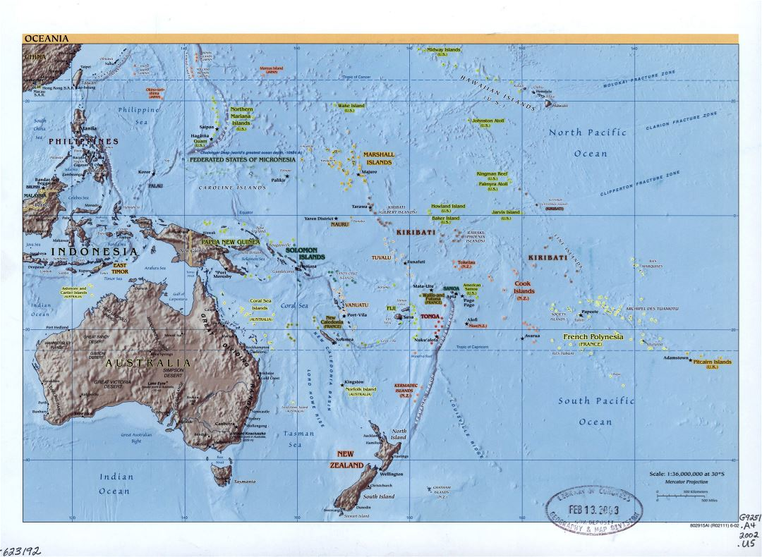 Large detailed political map of Oceania with relief, marks of capitals, large cities and names of states - 2002