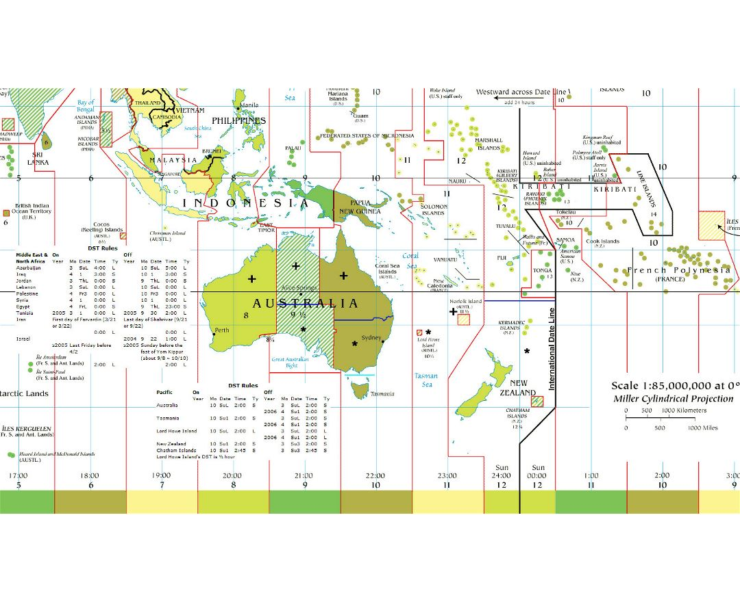 Large detailed Time Zones map of Australia and Oceania