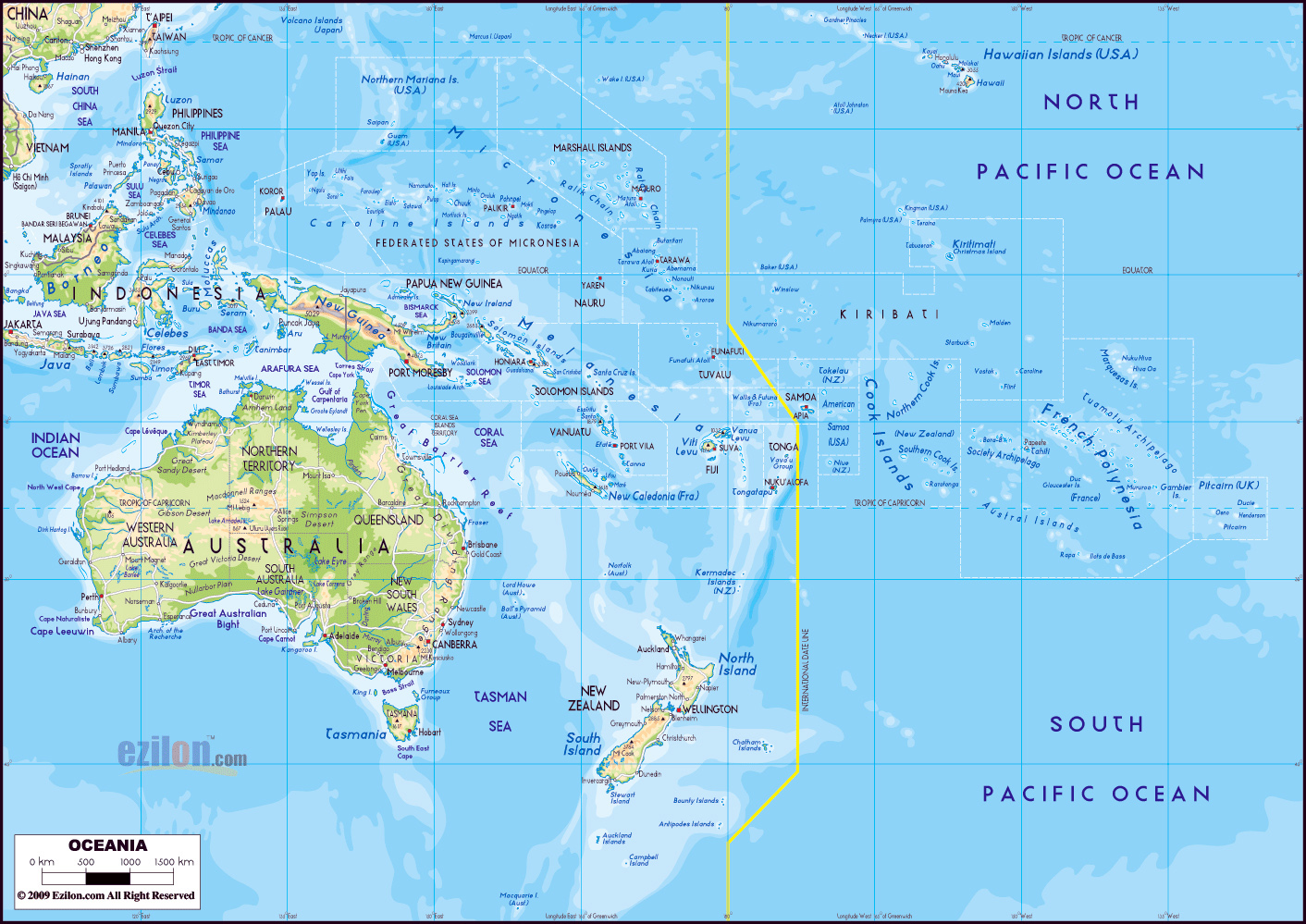 Large physical map of Australia and Oceania with major roads ...