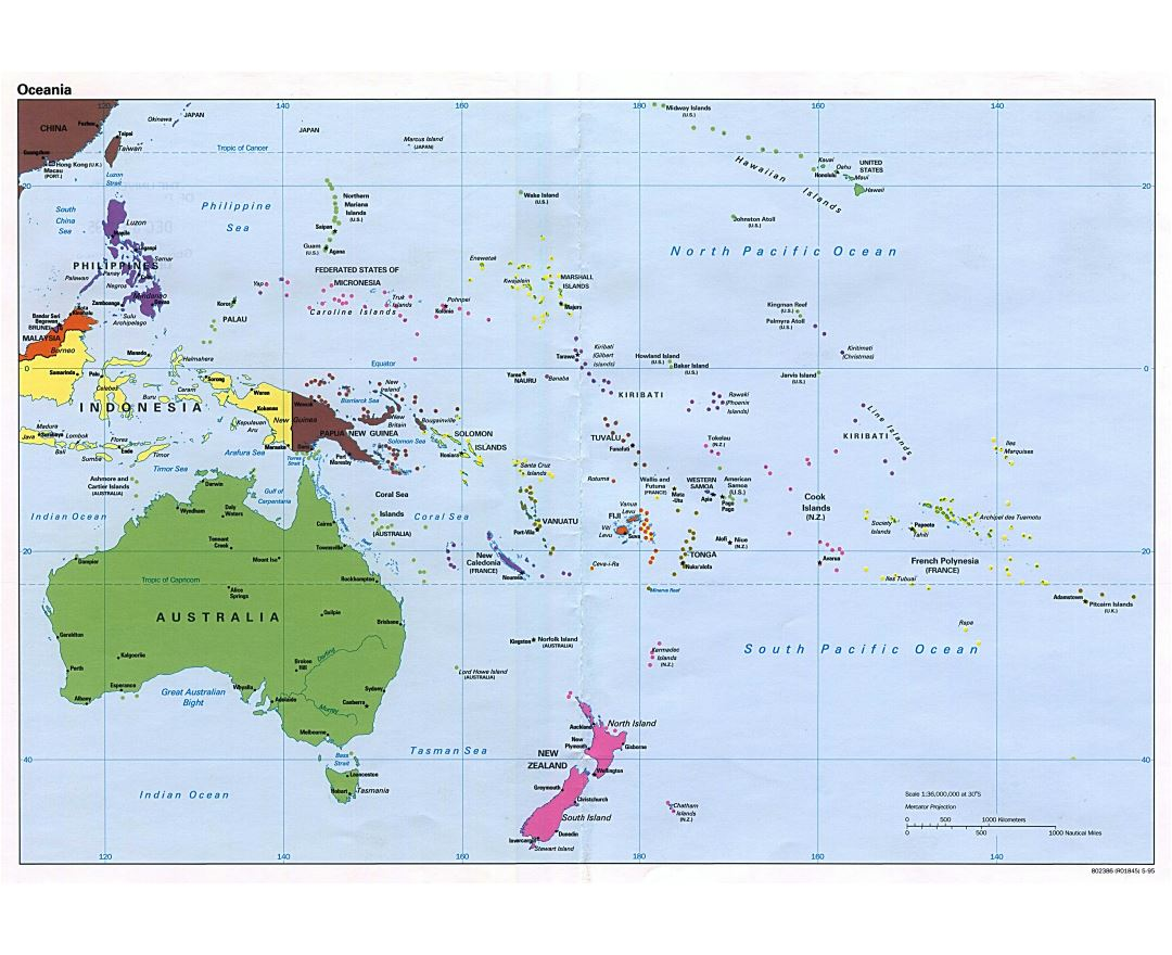 Large political map of Australia and Oceania - 1995