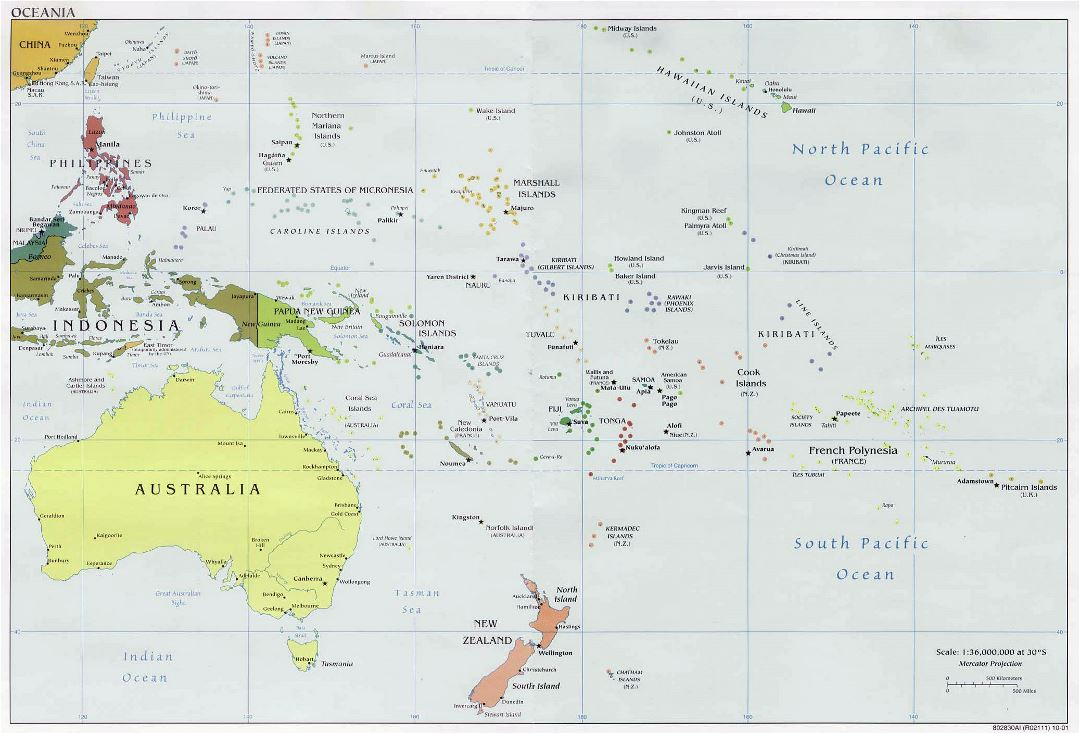 Large political map of Australia and Oceania - 2001