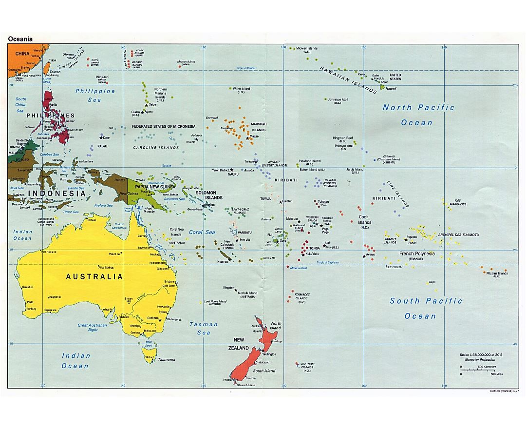 Large political map of Australia and Oceania with capitals - 1997