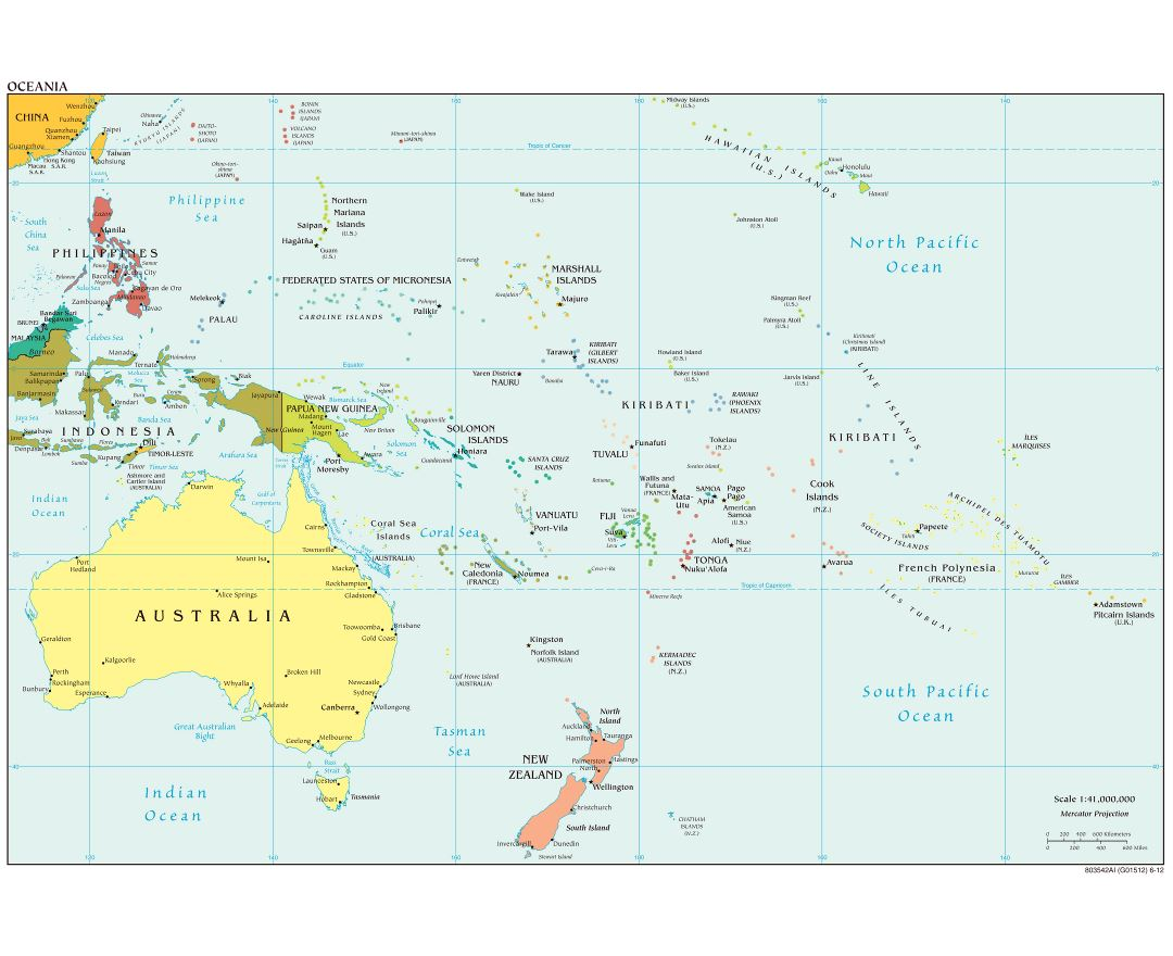 Large political map of Australia and Oceania with capitals - 2012