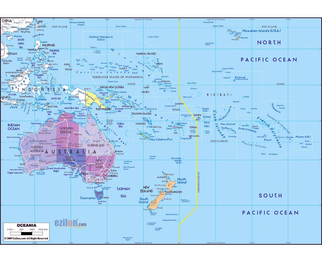 Maps Of Oceania And Oceanian Countries Political Maps Road And - Political map of australia