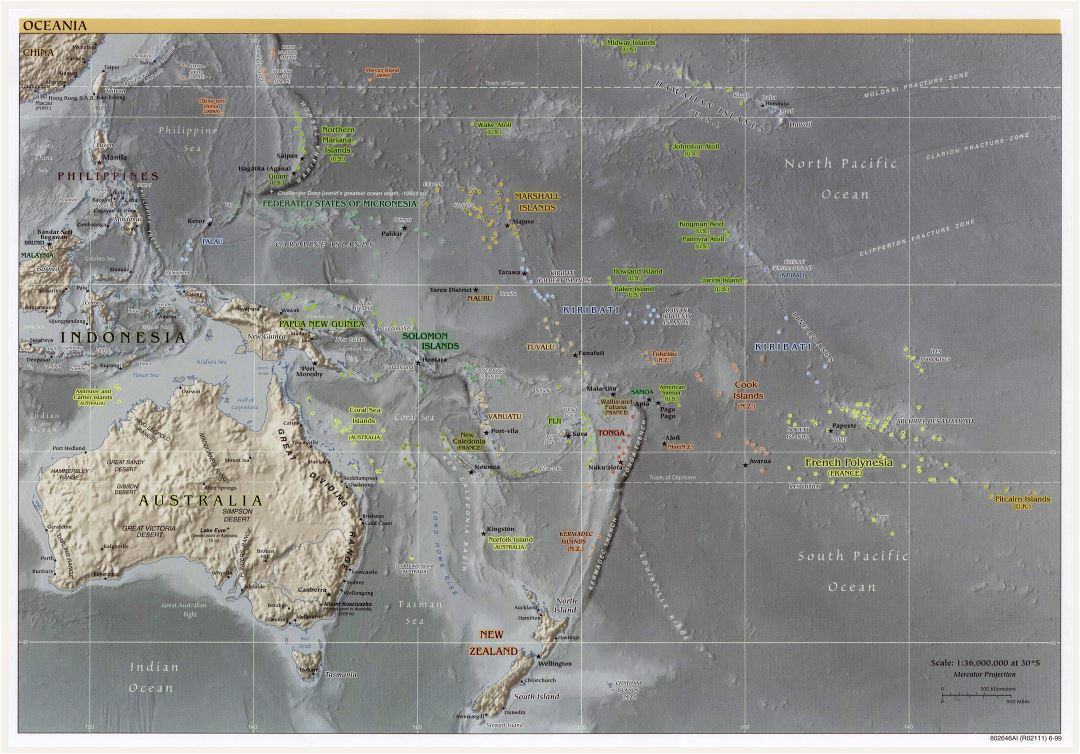 Large political map of Australia and Oceania with relief and capitals - 1999
