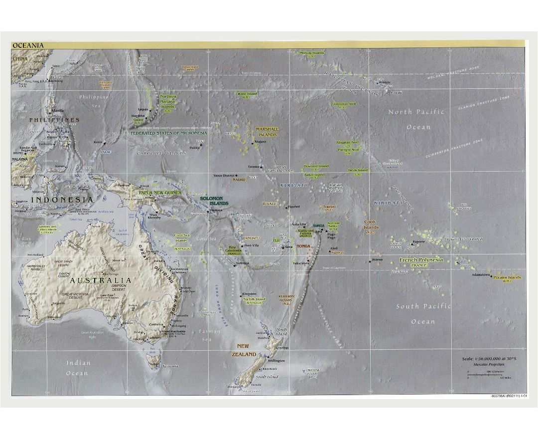 Large political map of Australia and Oceania with relief, major cities and capitals - 2001