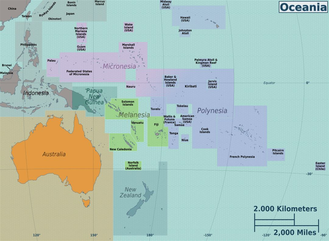 Large regions map of Australia and Oceania
