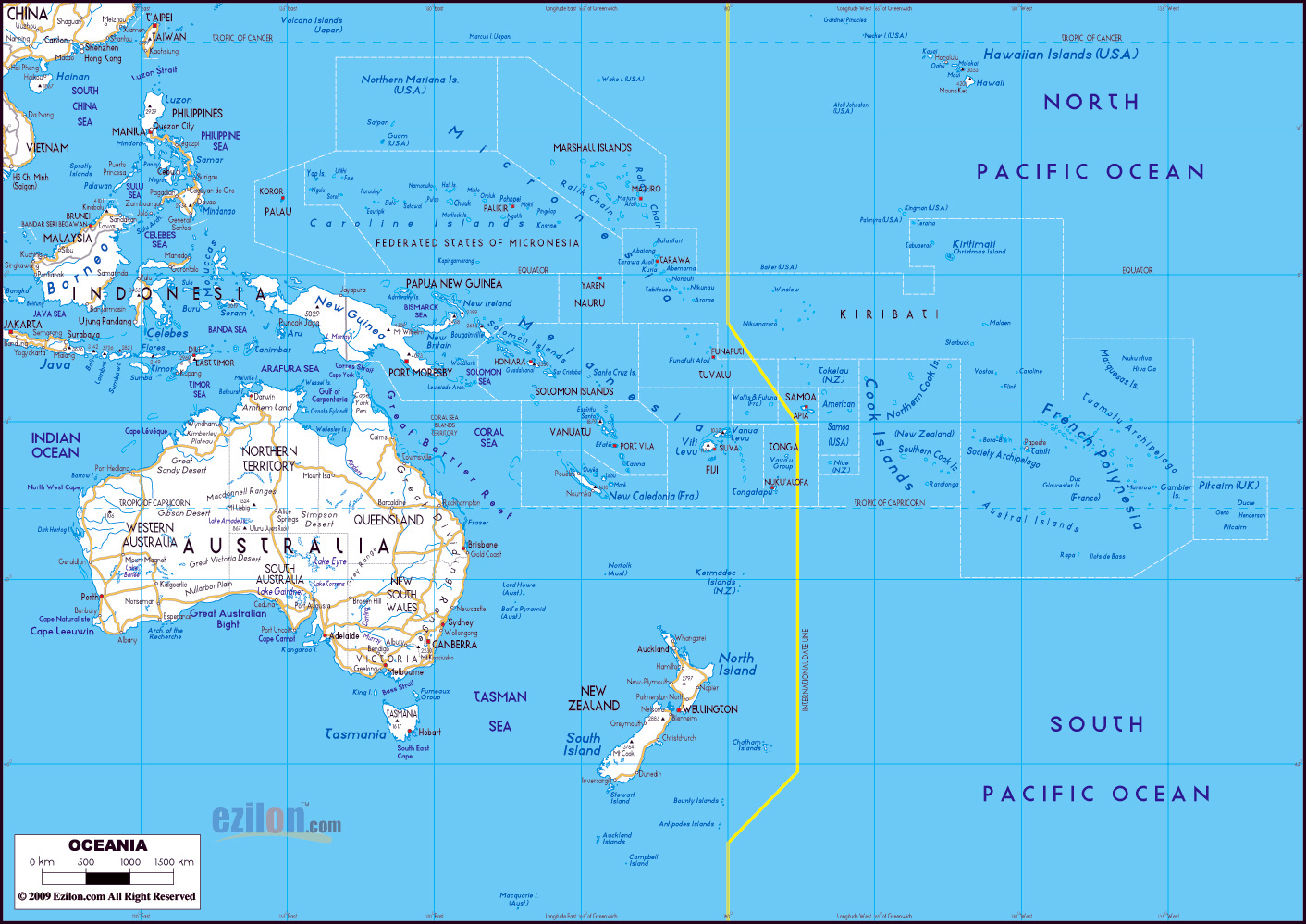 Major Cities In Australia Map.Large Road Map Of Australia And Oceania With Major Cities Oceania