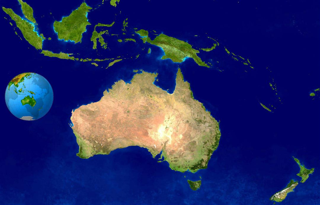 Large satellite map of Australia and Oceania