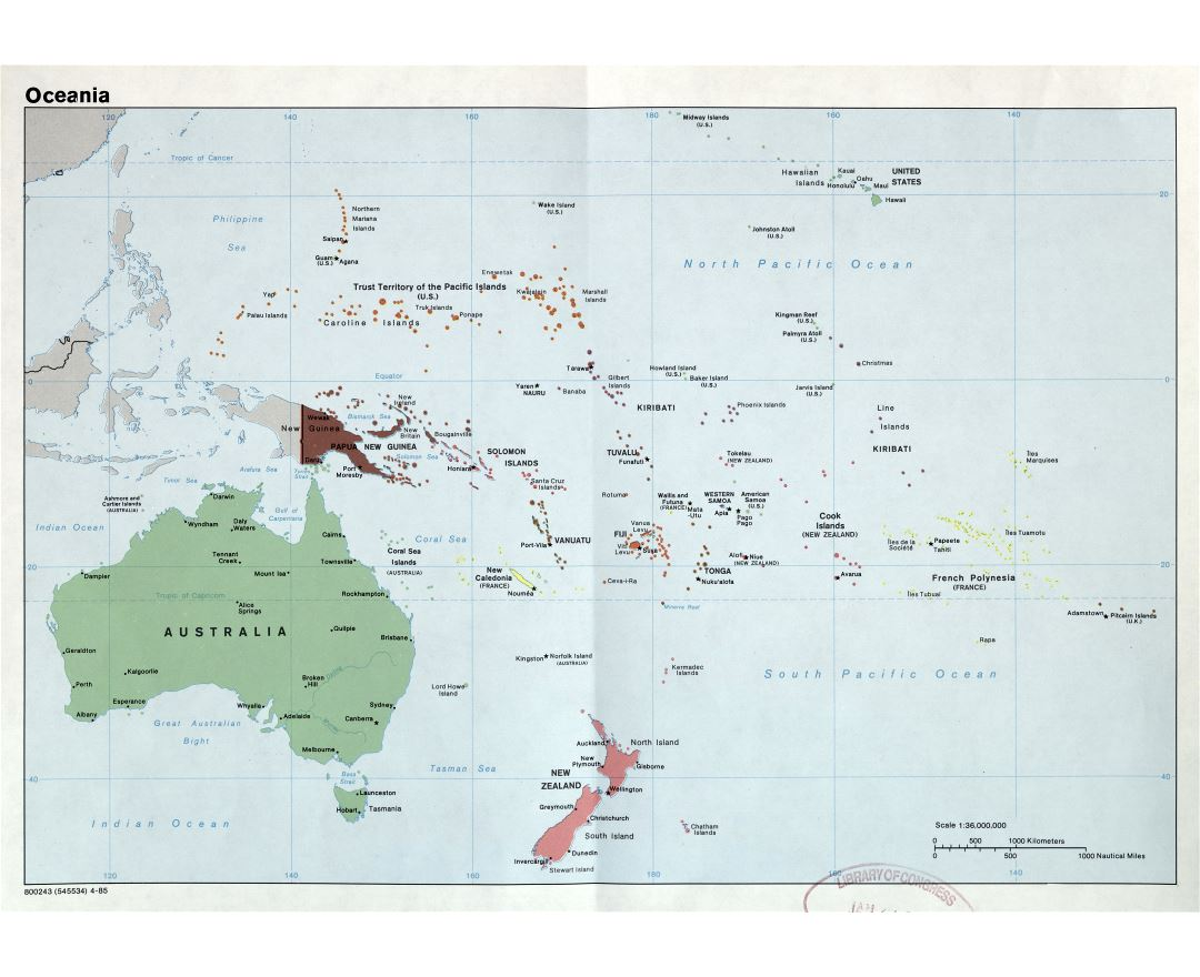 Large scale detailed political map of Oceania with capitals and major cities - 1985