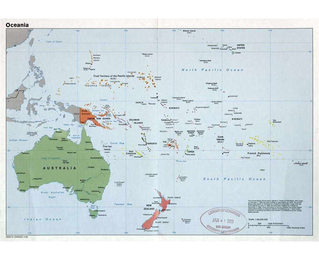Large scale detailed political map of Oceania with major cities and capitals - 1982