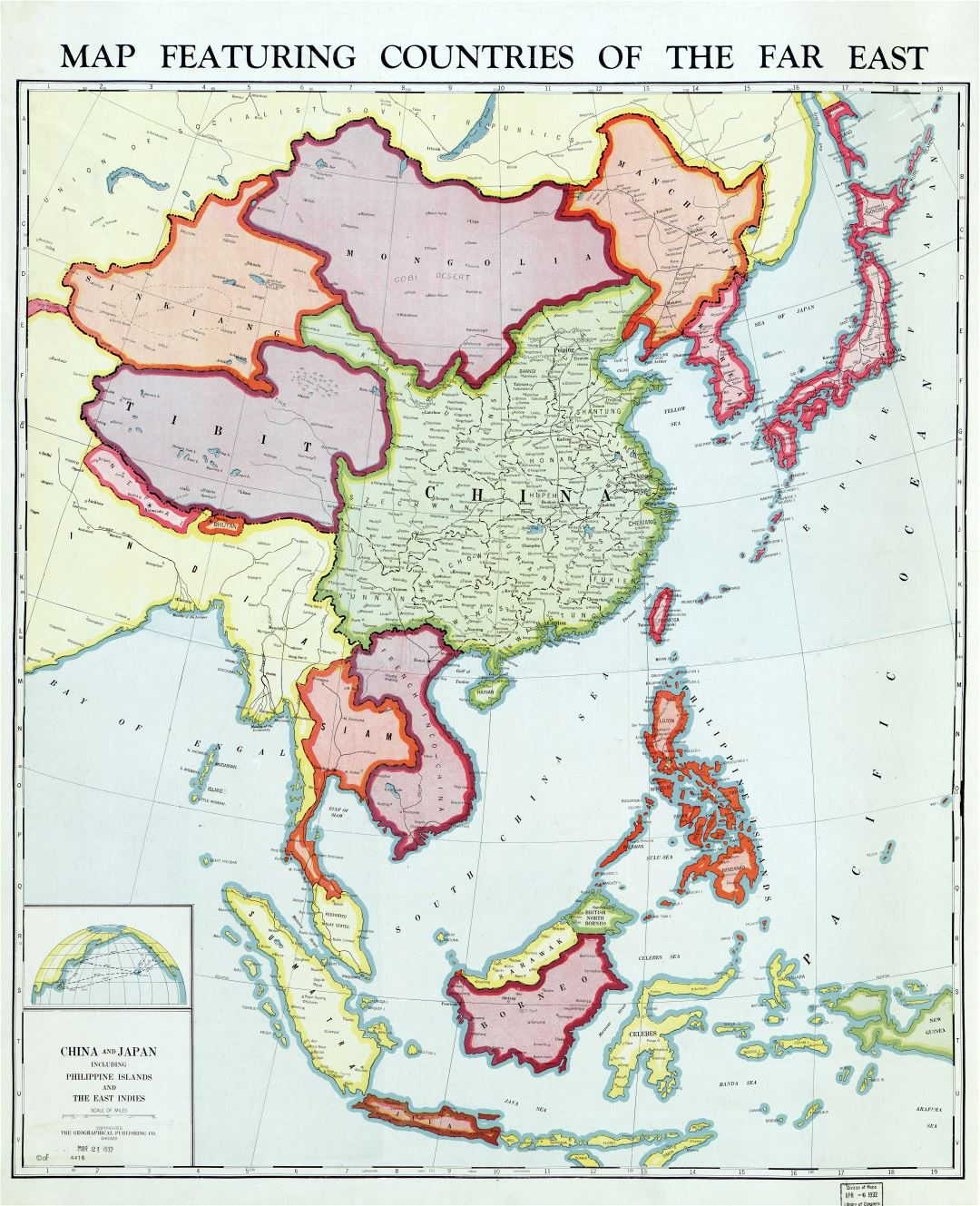 Large scale old political map of featuring countries of the Far East with the marks of cities and other marks - 1932 - (1)