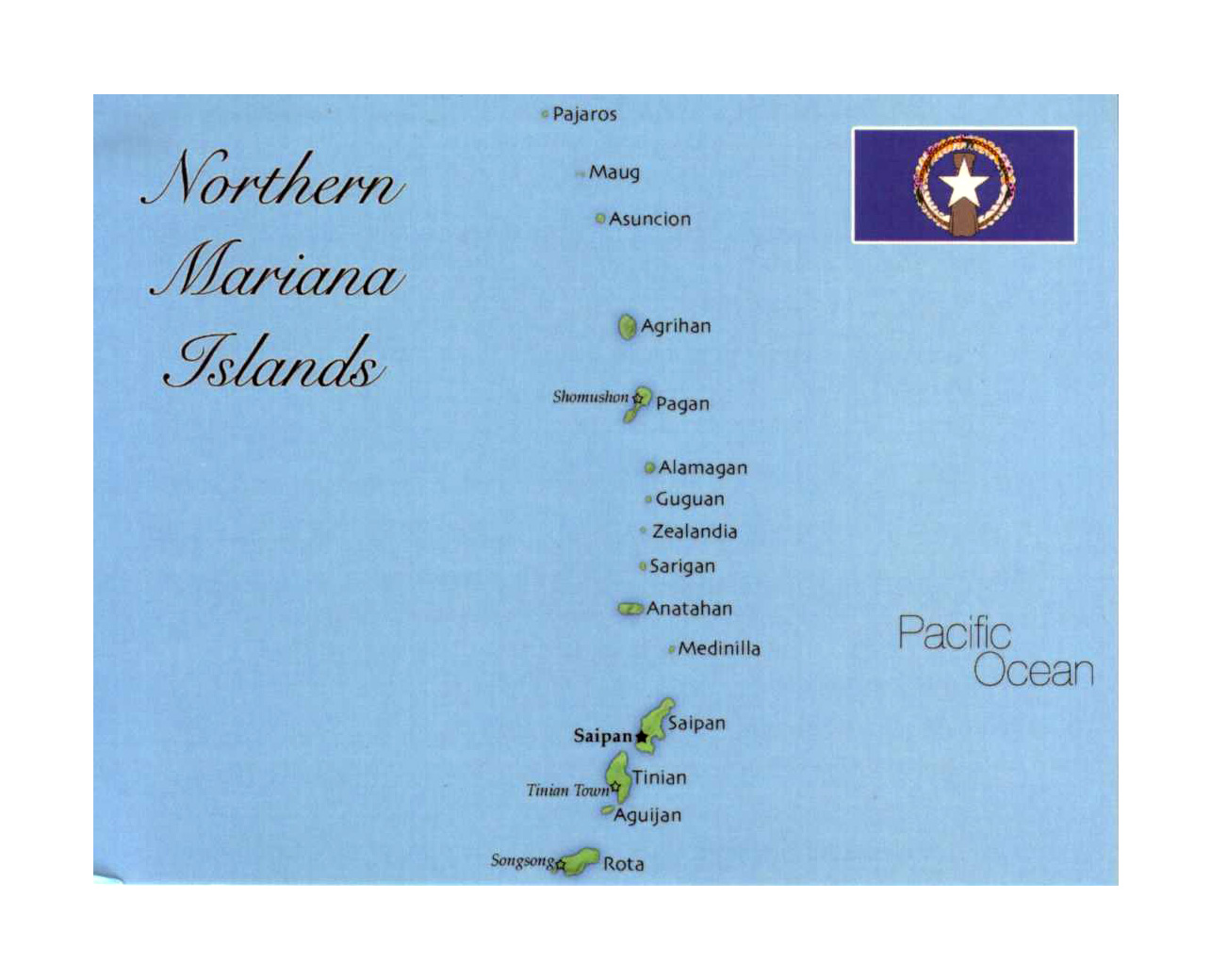 Detailed map of Northern Mariana Islands with flag | Mariana Islands ...
