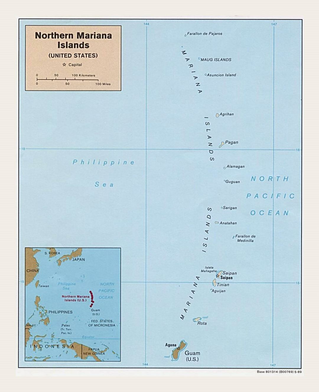 Detailed political map of Northern Mariana Islands with island names and capitals - 1989