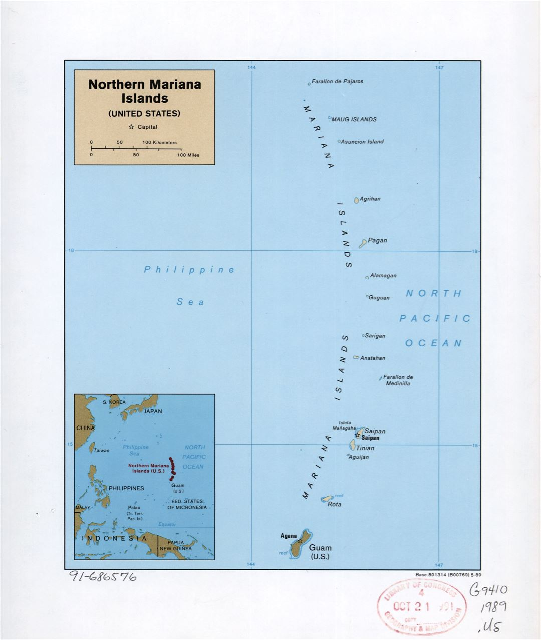 Large detailed political map of Northern Mariana Islands with island names and capitals - 1989