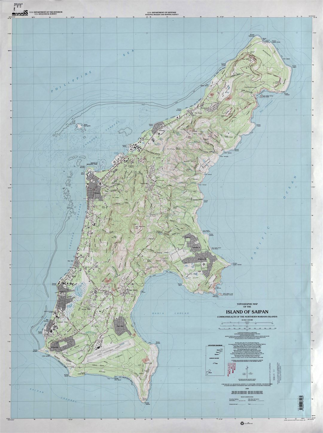 Large detailed topographical map of Saipan Island, Northern Mariana Islands
