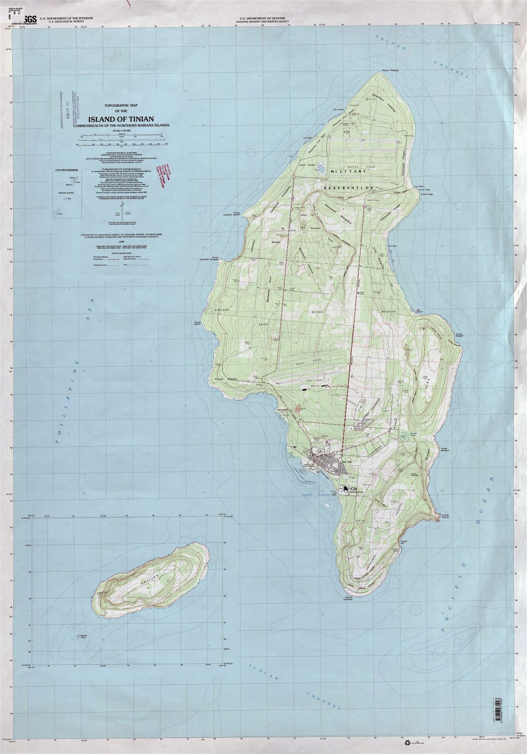 Large detailed topographical map of Tinian Island, Northern Mariana Islands