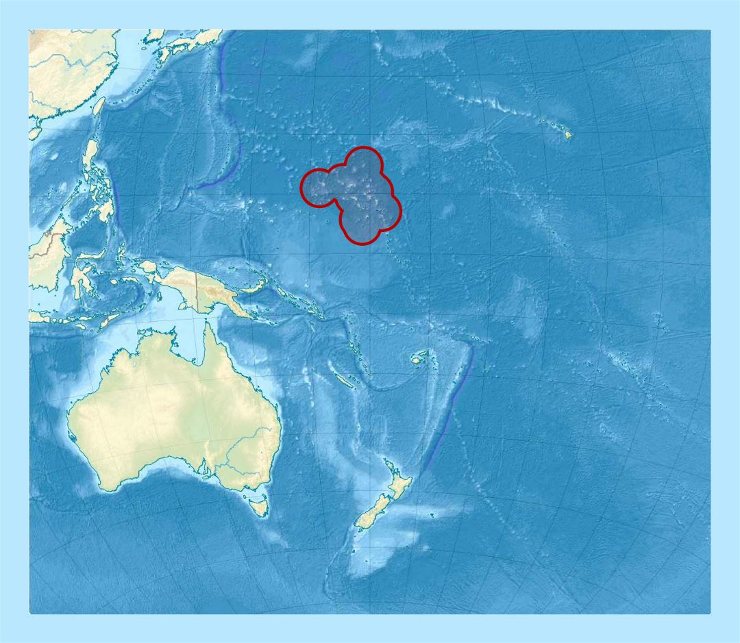 Detailed location map of Marshall Islands in Oceania with relief