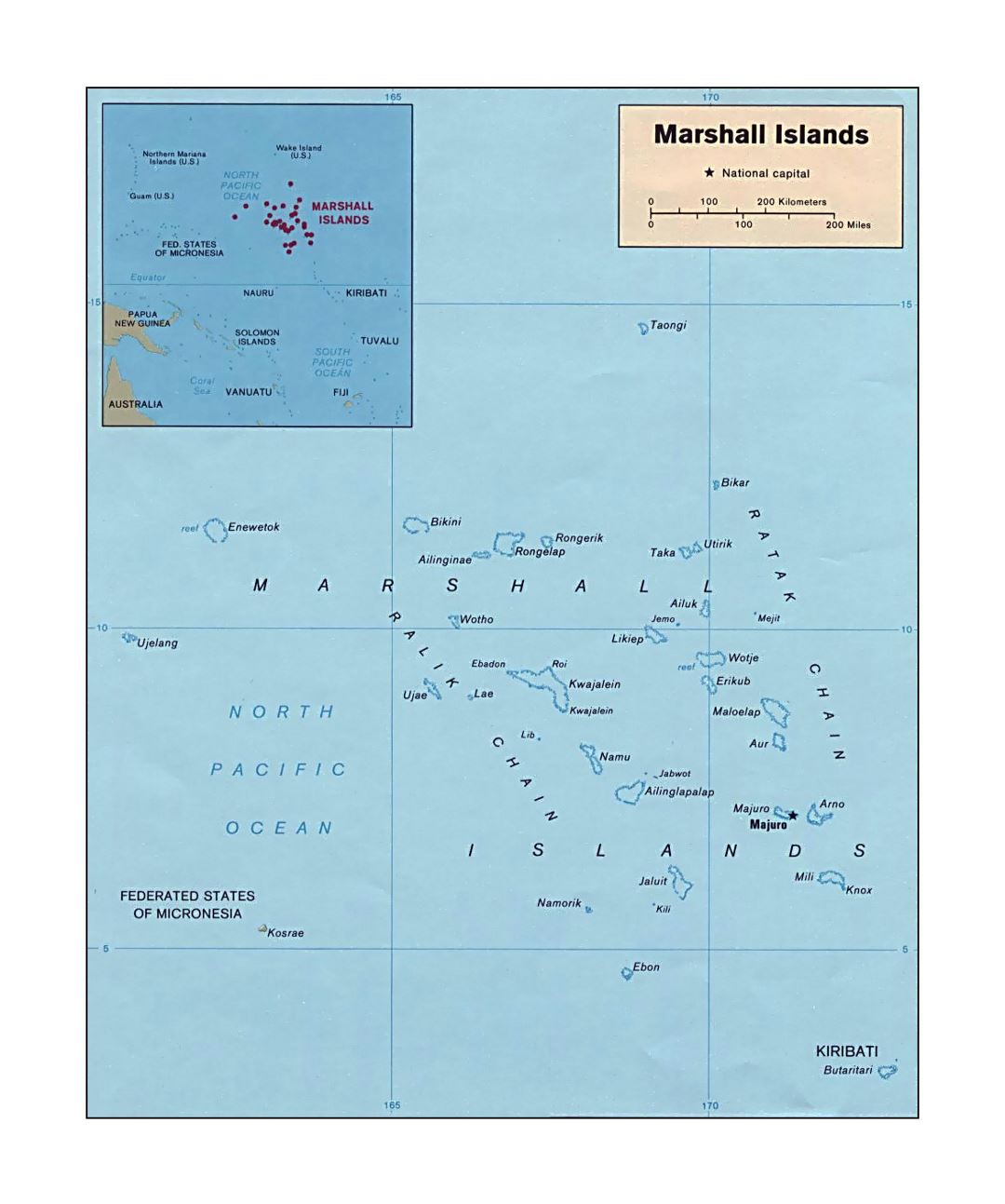 Detailed political map of Marshall Islands