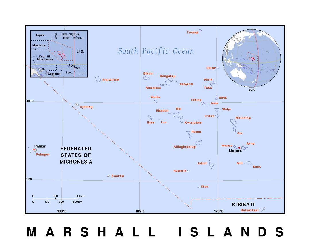 Detailed political map of Marshall Islands with capital and other marks