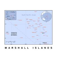 Detailed location map of Marshall Islands in Oceania with ...