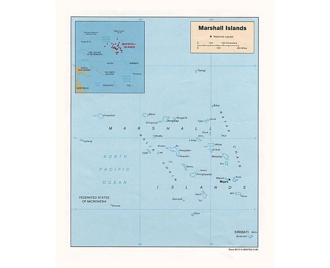 Detailed political map of Marshall Islands with island names and capital - 1989