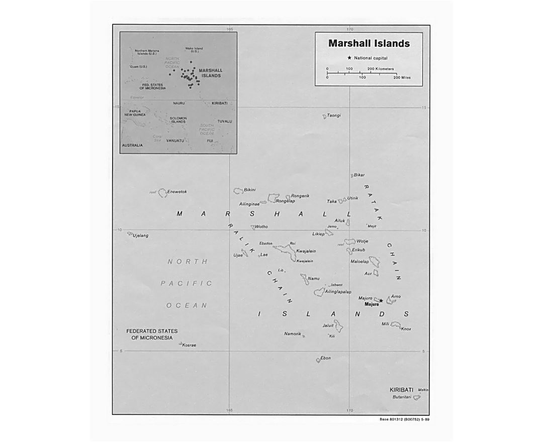 Detailed political map of Marshall Islands with other marks