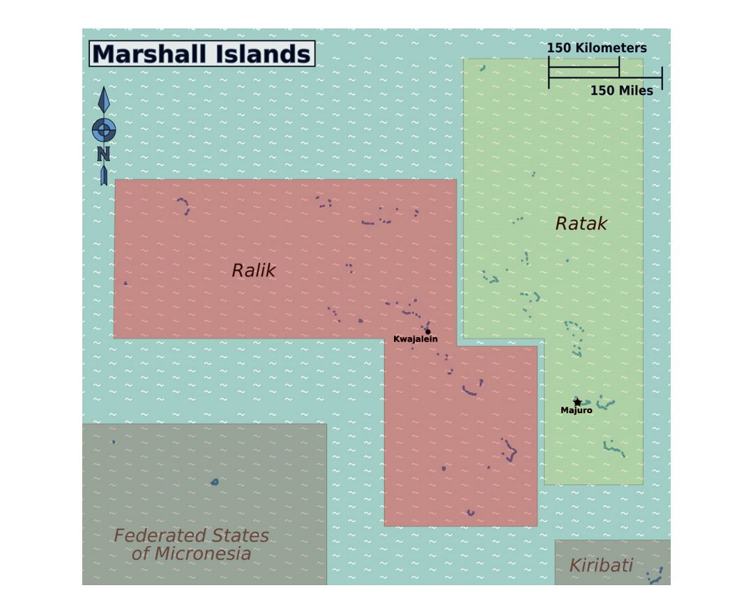 Detailed regions map of Marshall Islands