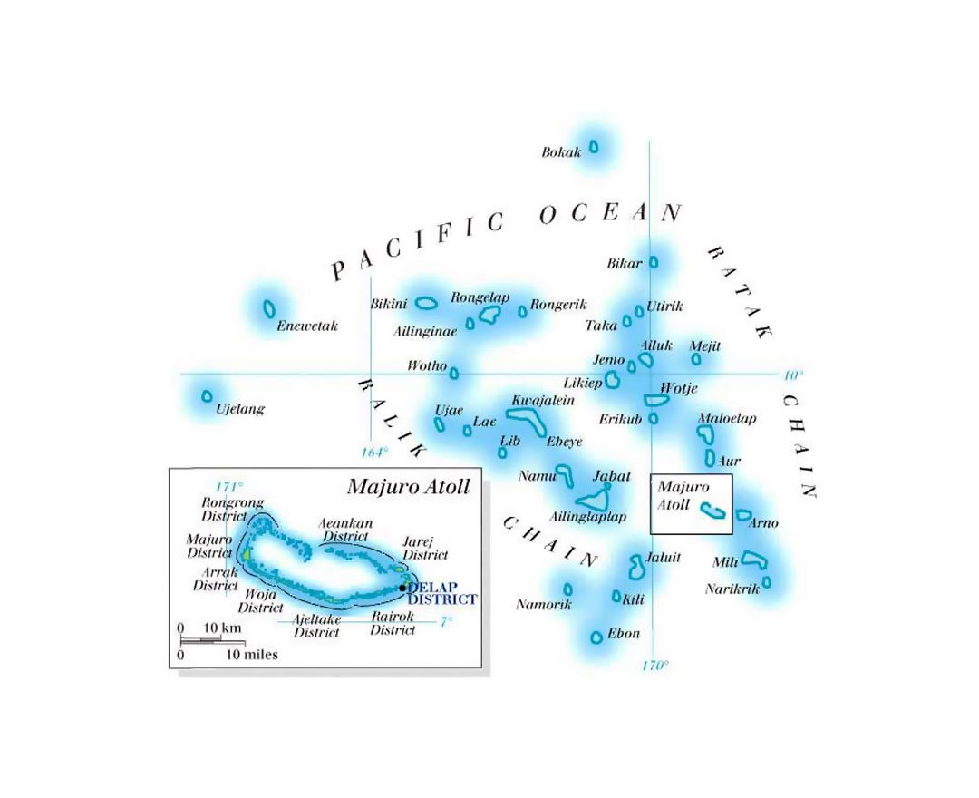 Elevation map of Marshall Islands with island names